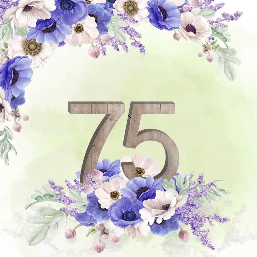 Uitnodigingen - Uitnodiging 75 jaar paarse anemonen