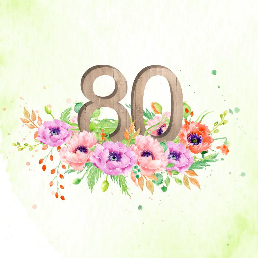 Uitnodigingen - Uitnodiging 80 jaar met klaprozen