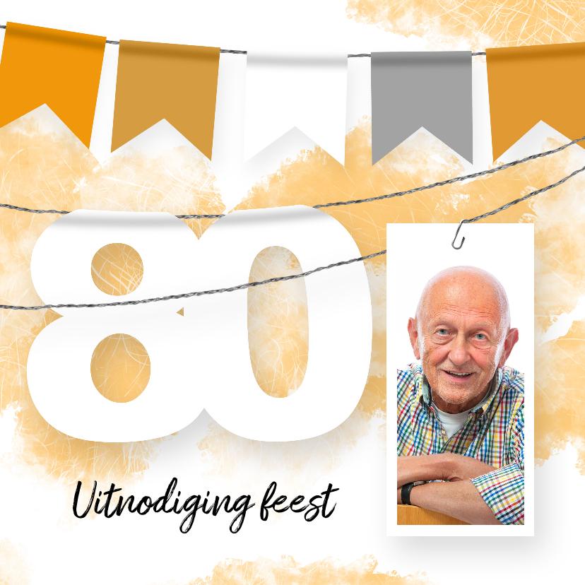 Uitnodigingen - Uitnodiging 80 jaar slinger en foto