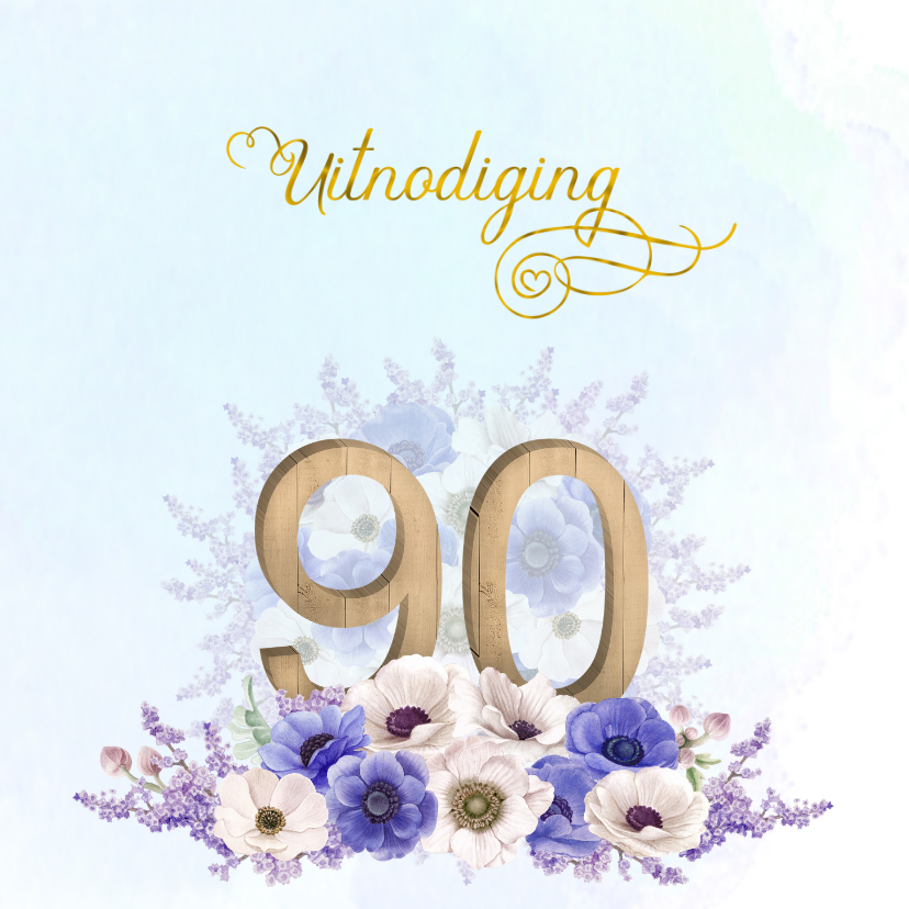 Zeer Uitnodiging 90 jaar anemonen - Uitnodigingen | Kaartje2go #ZP22