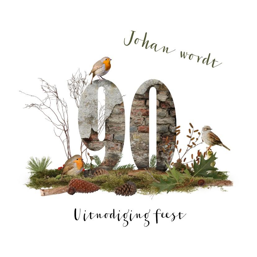 Uitnodigingen - Uitnodiging 90 jaar natuur herfst bos