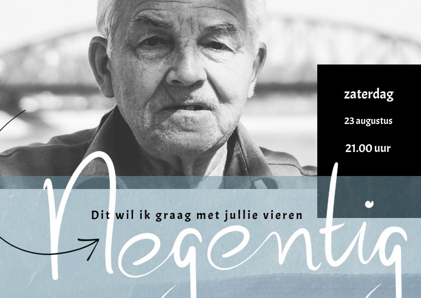 Uitnodigingen - Uitnodiging 90ste verjaardag, met geschreven 'negentig'