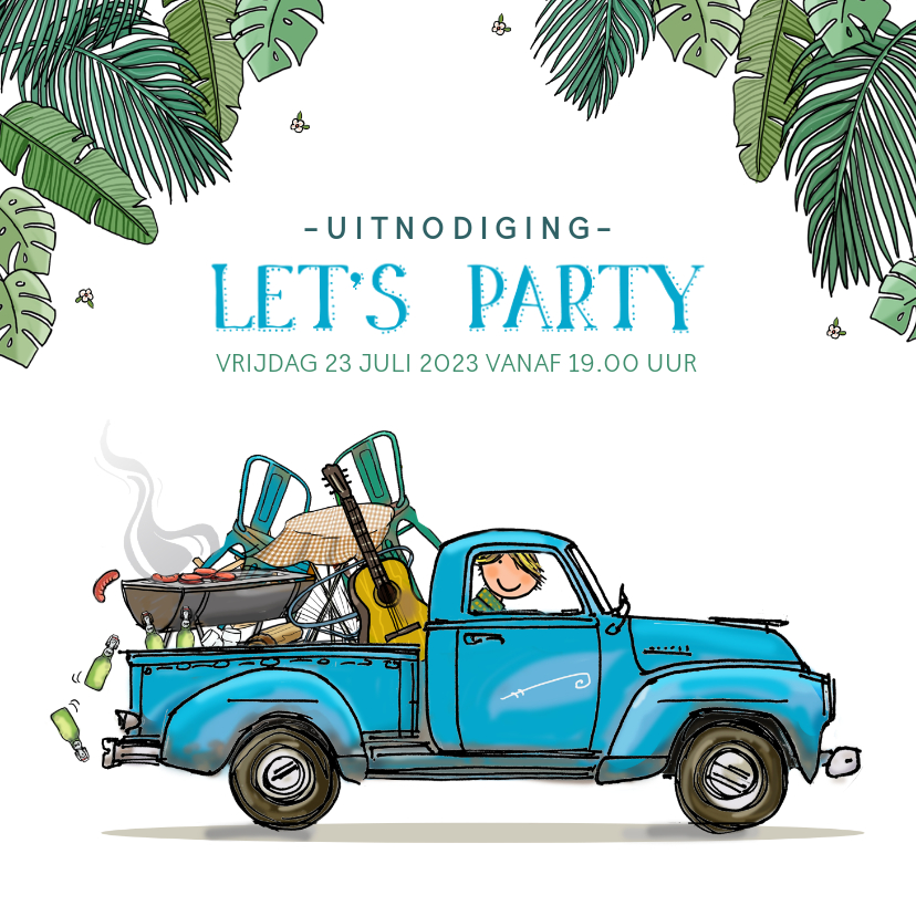 Uitnodigingen - Uitnodiging Amerikaanse pick-up truck blauw