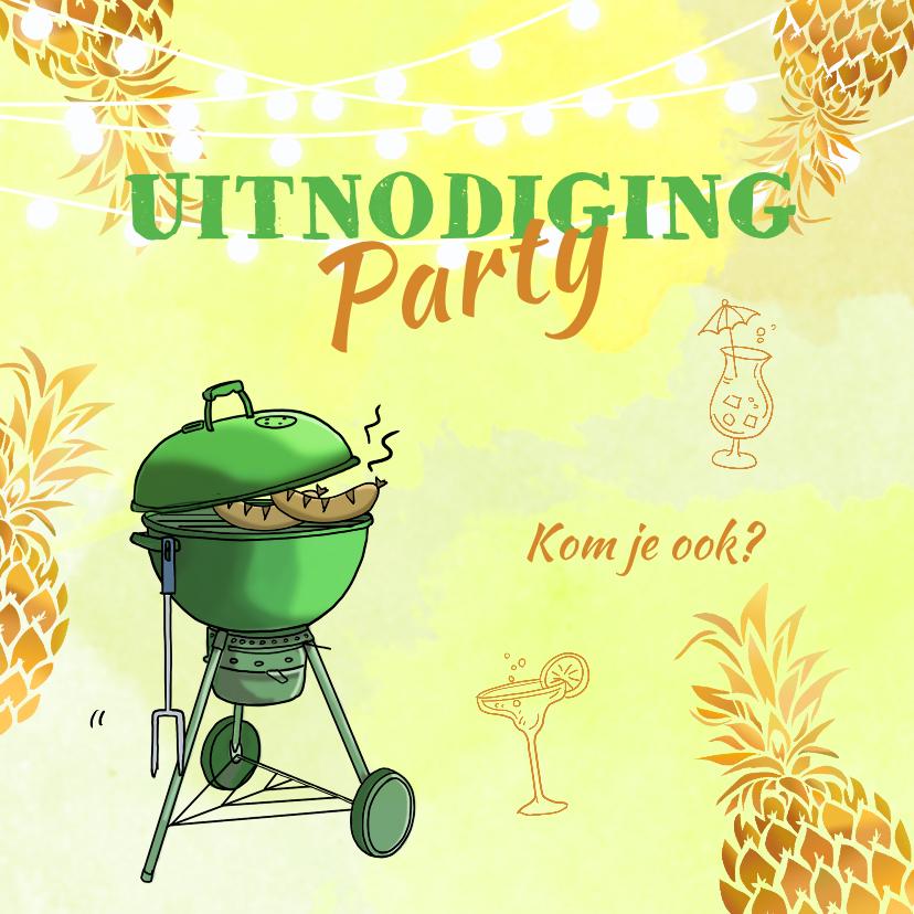 Uitnodigingen - Uitnodiging ananas goudkleurig