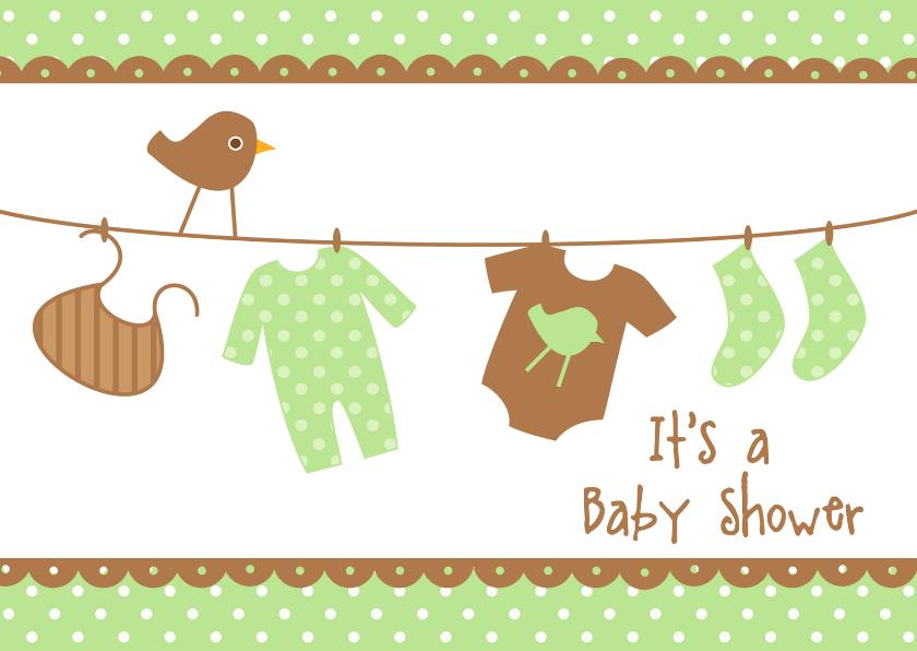 Uitnodigingen - Uitnodiging Babyshower groen