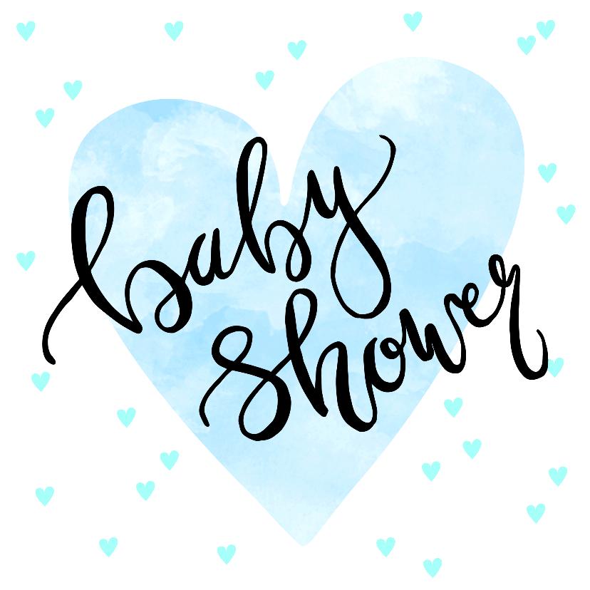 Uitnodigingen - Uitnodiging babyshower hartjes in blauw