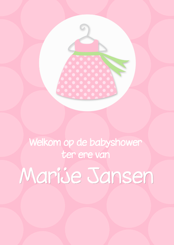 Uitnodigingen - Uitnodiging babyshower polkadots roze