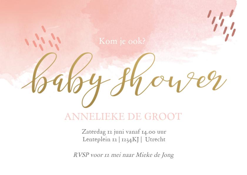 Uitnodigingen - Uitnodiging babyshower watercolor met streepjes