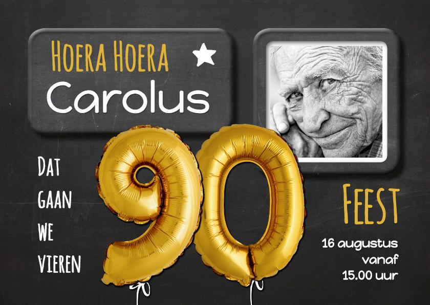 Favoriete Uitnodiging Ballon 90 goud op krijtbord | Kaartje2go &CG58
