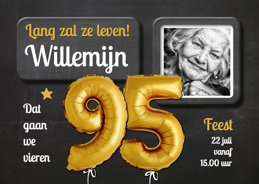Uitnodigingen - Uitnodiging Ballonnen goud 95