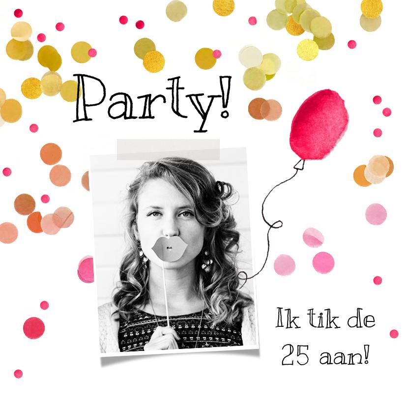 Uitnodigingen - Uitnodiging ballon roze