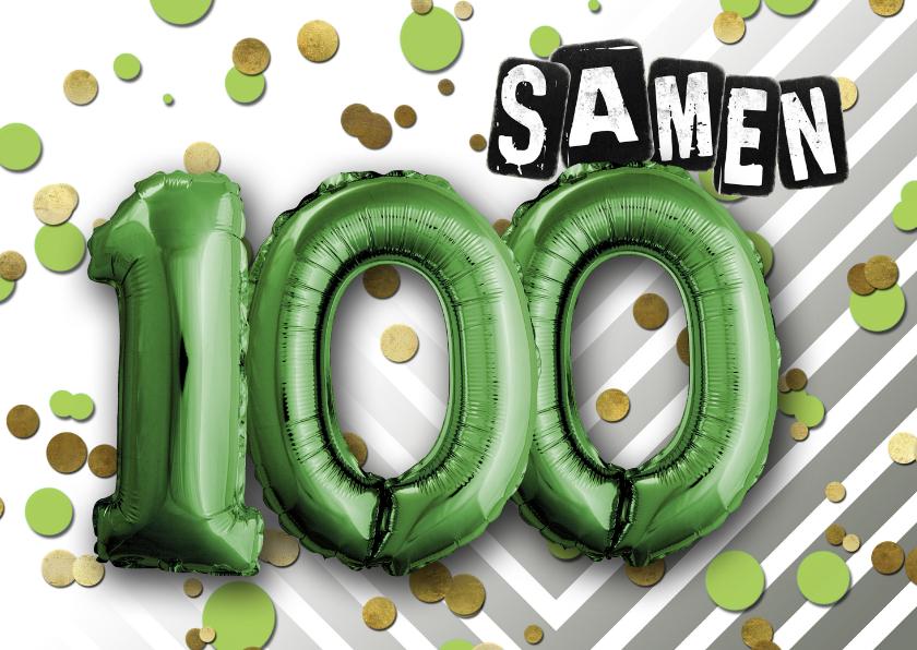 Uitnodigingen - Uitnodiging ballon  samen 100 - SG