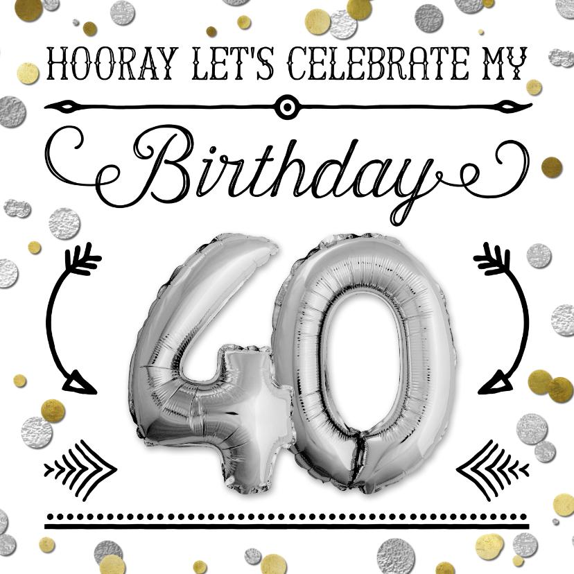 Uitnodigingen - Uitnodiging ballon zilver 40  en confetti