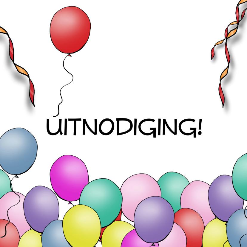 Uitnodigingen - Uitnodiging ballonnen basic square