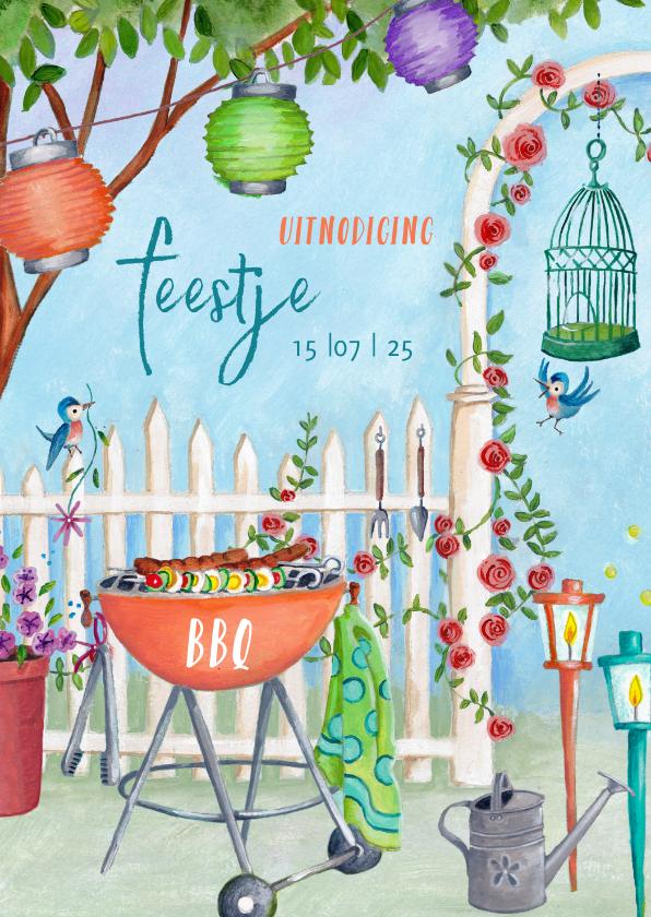 Uitnodigingen - Uitnodiging BBQ feestje in de tuin