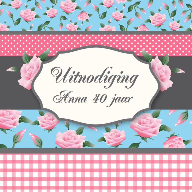 Uitnodigingen - Uitnodiging Birthday Lovely Roses