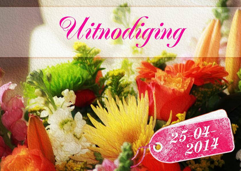 Uitnodiging bloemen en label RB 1
