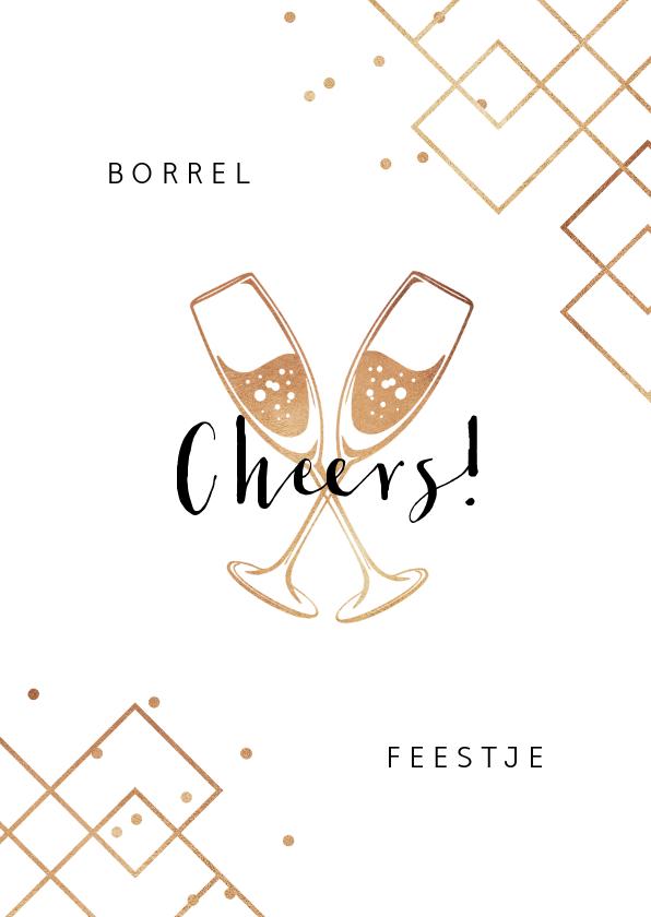 Uitnodigingen - Uitnodiging borrel feestje champagne cheers goud confetti