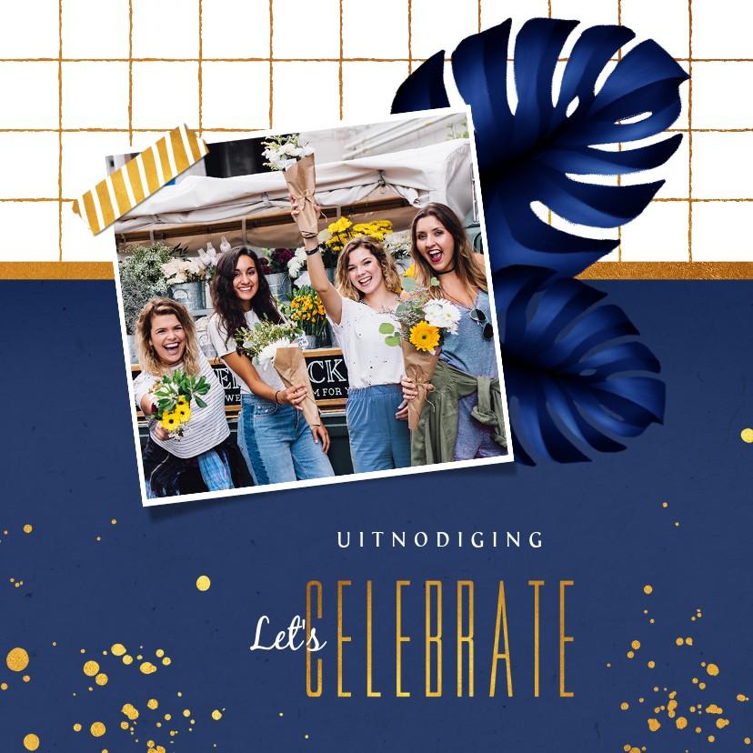 Uitnodigingen - Uitnodiging borrel feestje hip goud blauw