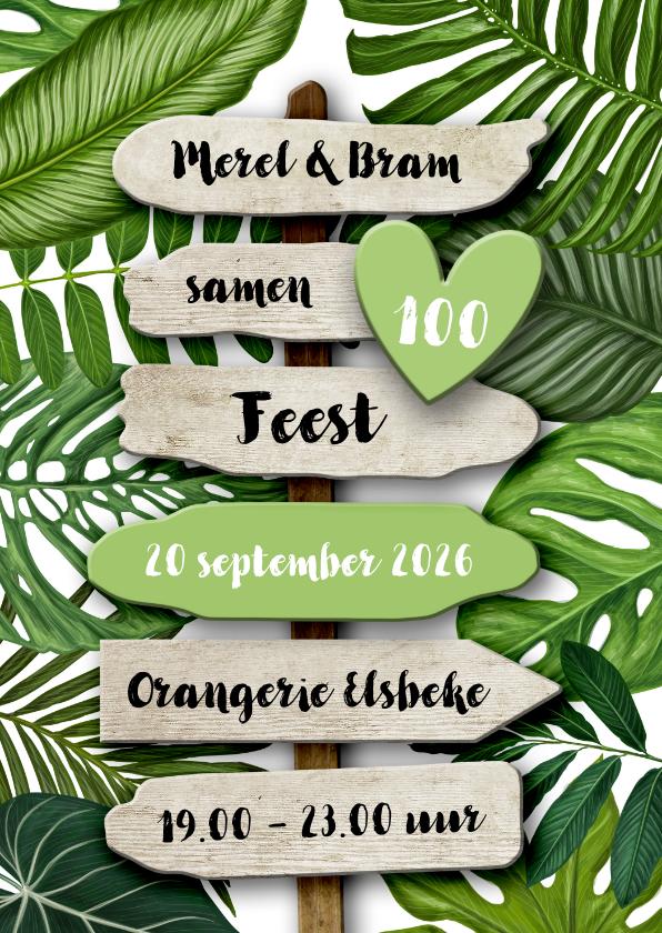 Uitnodigingen - Uitnodiging botanisch groen blad met houten wegwijzer