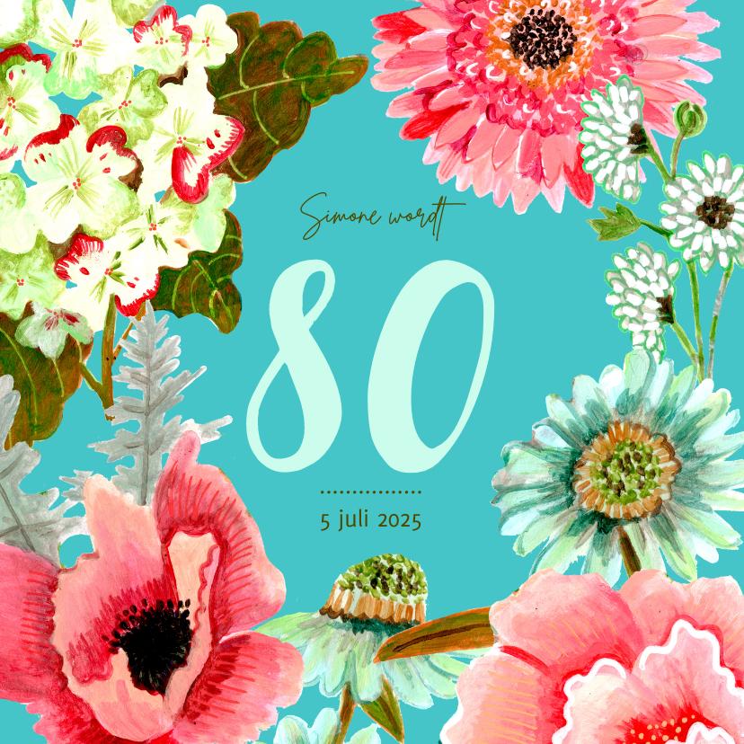 Uitnodigingen - Uitnodiging botanische bloemen pracht