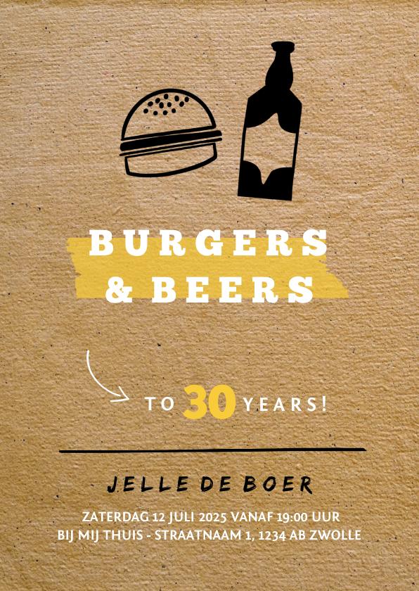 Uitnodigingen - Uitnodiging Burgers & Beers met papierlook
