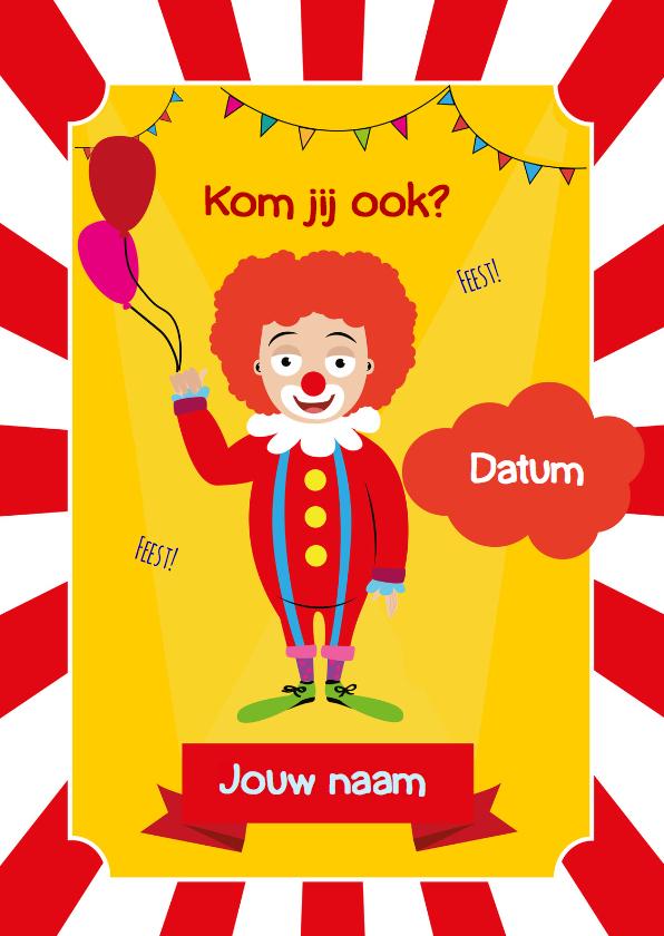 Uitnodigingen - Uitnodiging CircusClown