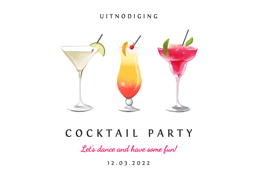 Uitnodigingen - Uitnodiging cocktail party voor iedere gelegenheid