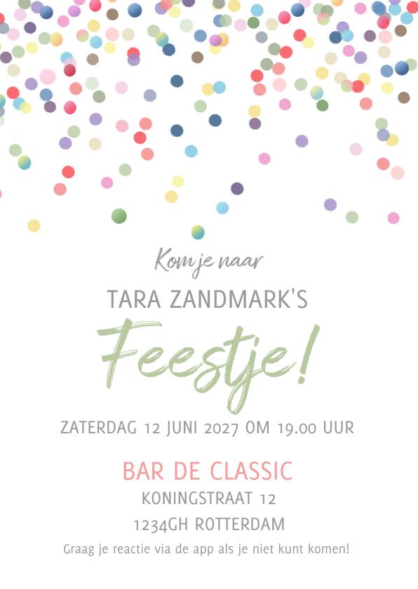 Uitnodigingen - Uitnodiging confetti kaart