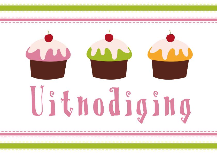 Uitnodigingen - Uitnodiging cupcake