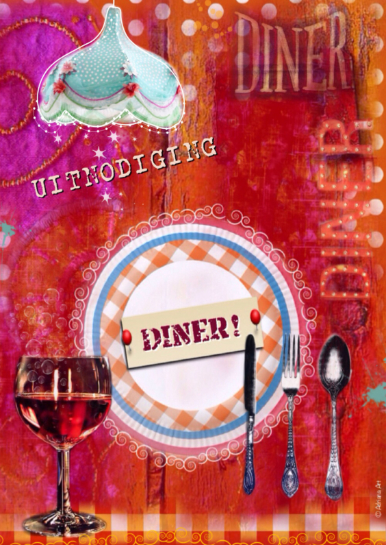 Uitnodigingen - Uitnodiging Diner Mixed Media