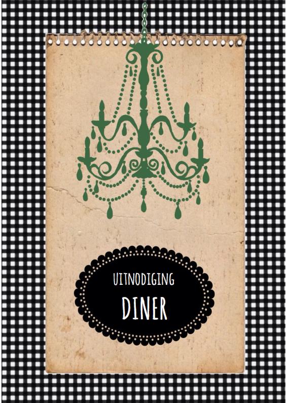 Uitnodigingen - Uitnodiging diner zwart wit AA