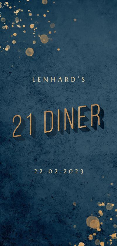 Uitnodigingen - Uitnodiging donkerblauw 21 diner met gouden accenten
