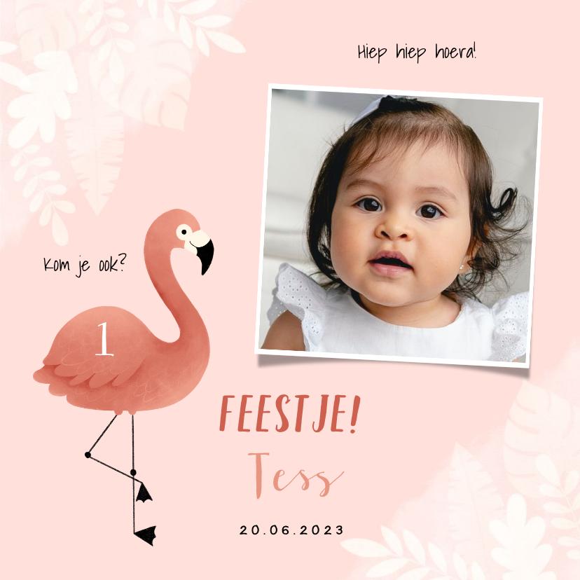 Uitnodigingen -  Uitnodiging eerste verjaardag meisje flamingo jungle & foto