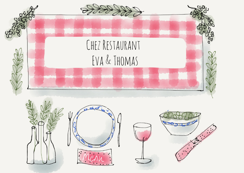 Uitnodigingen - Uitnodiging etentje Chez