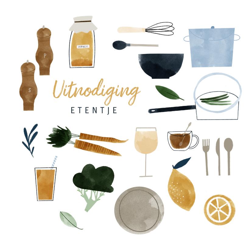 Uitnodigingen - Uitnodiging etentje feestje met eten en drinken illustraties