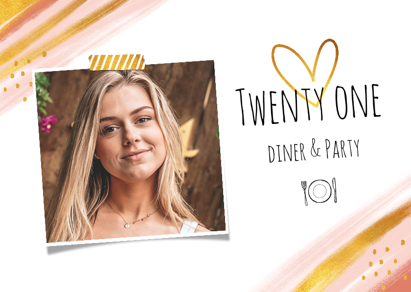 Uitnodigingen - Uitnodiging etentje stijlvol goud en roze met eigen foto