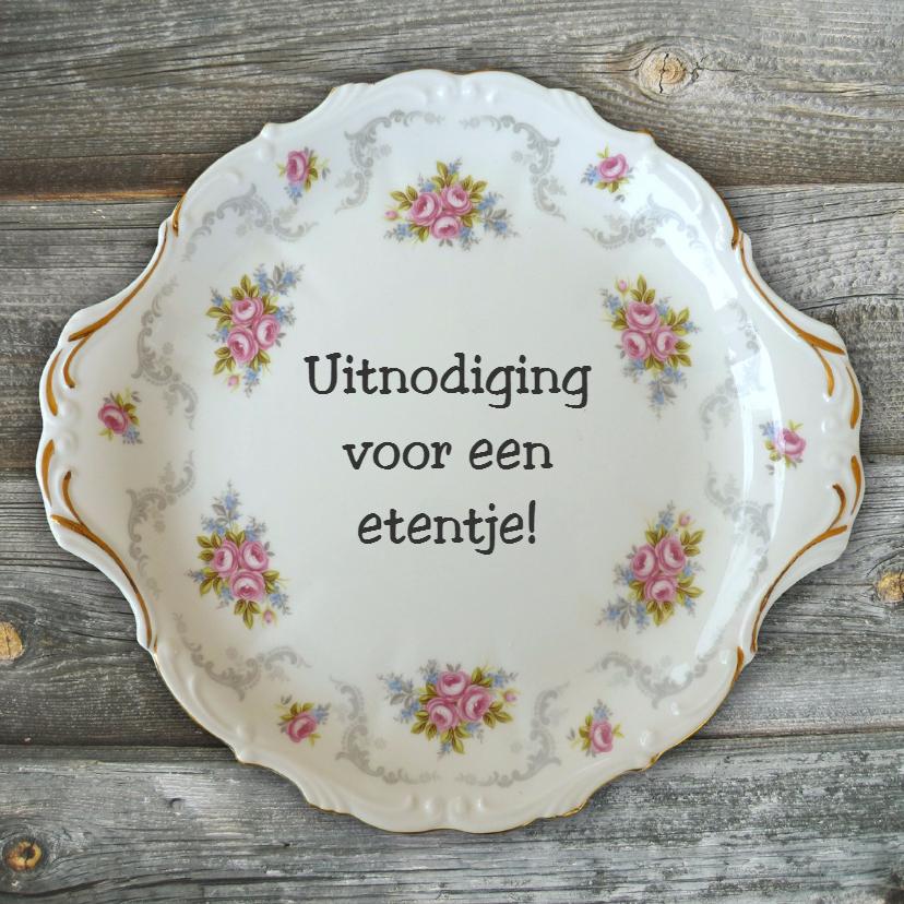 Uitnodigingen - Uitnodiging etentje vintage servies