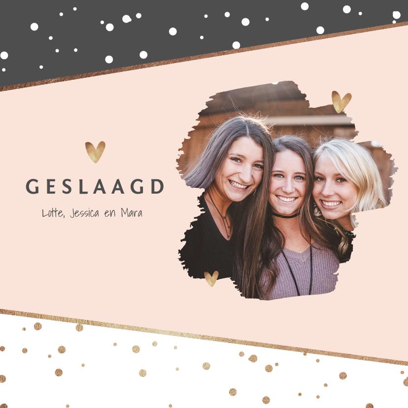 Uitnodigingen - uitnodiging examenfeest stijlvol confetti hartjes foto goud