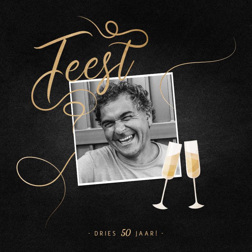 Uitnodigingen - Uitnodiging feest champagne met foto en gouden linten