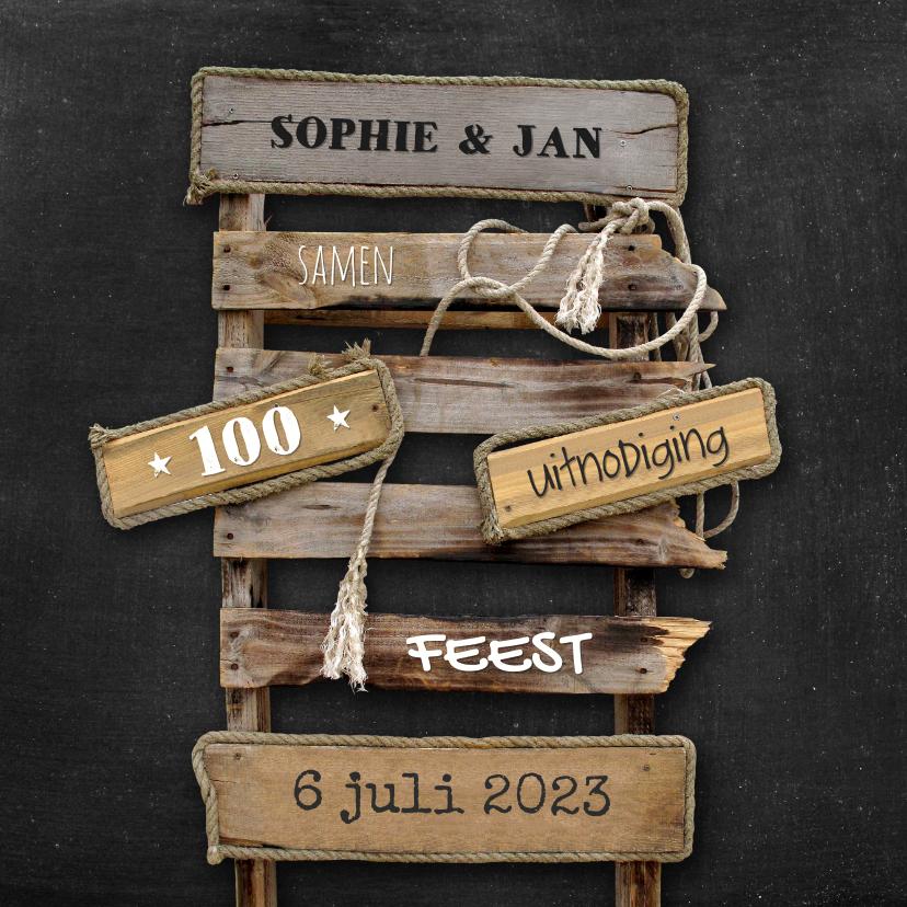 Uitnodigingen - Uitnodiging feest Drijfhout pallet op krijtbord