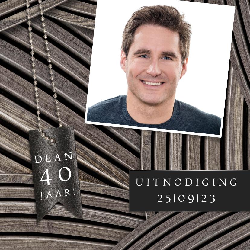 Uitnodigingen - Uitnodiging feest foto op hout stoer