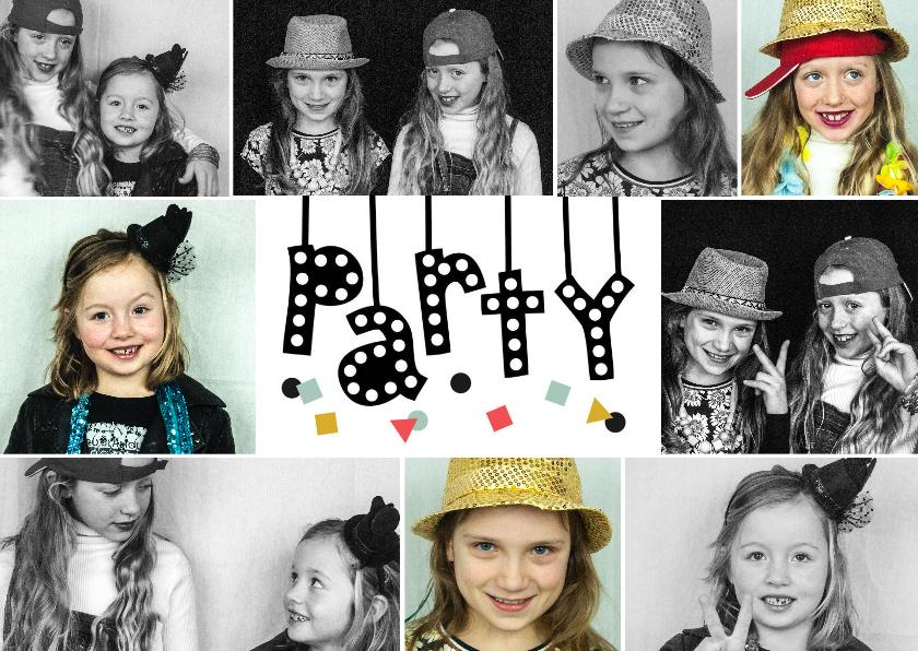 Uitnodigingen - Uitnodiging feest fotocollage met illustratie party slinger