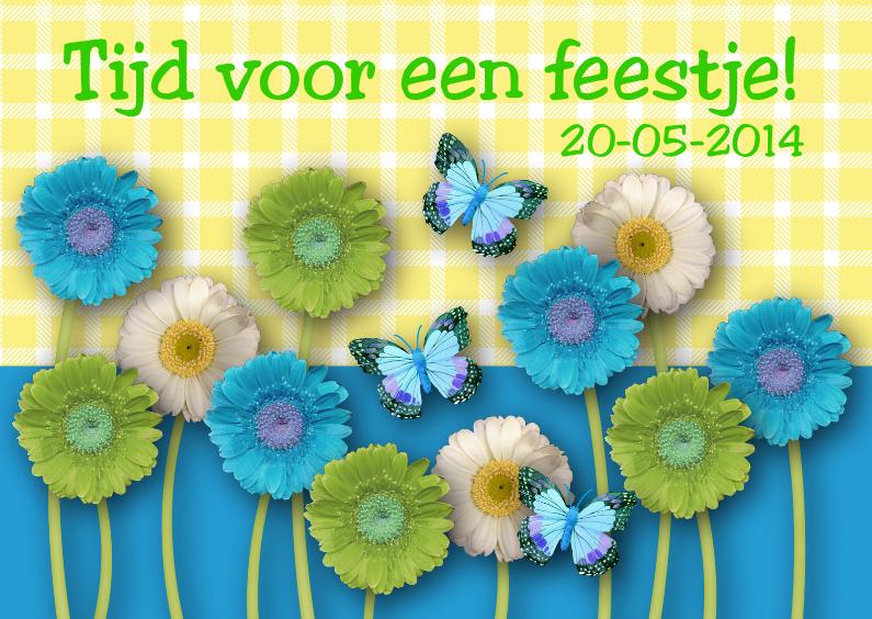Uitnodiging Feest Happy Flowers 1