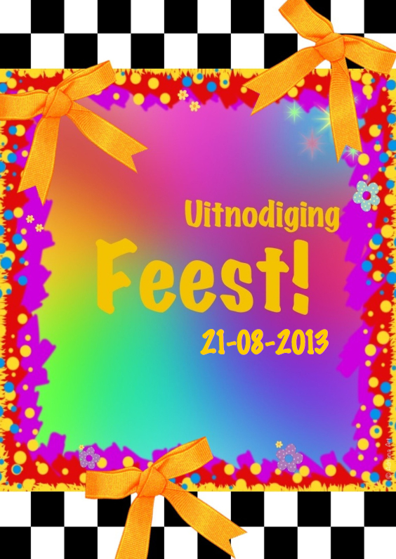Uitnodigingen - Uitnodiging Feest! Kleurrijk