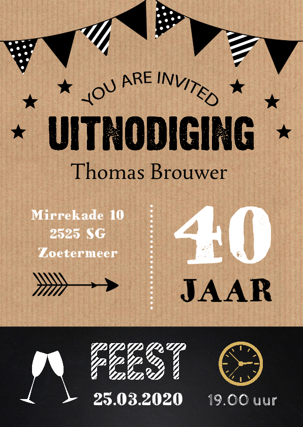 Uitnodigingen - Uitnodiging feest kraft typografie