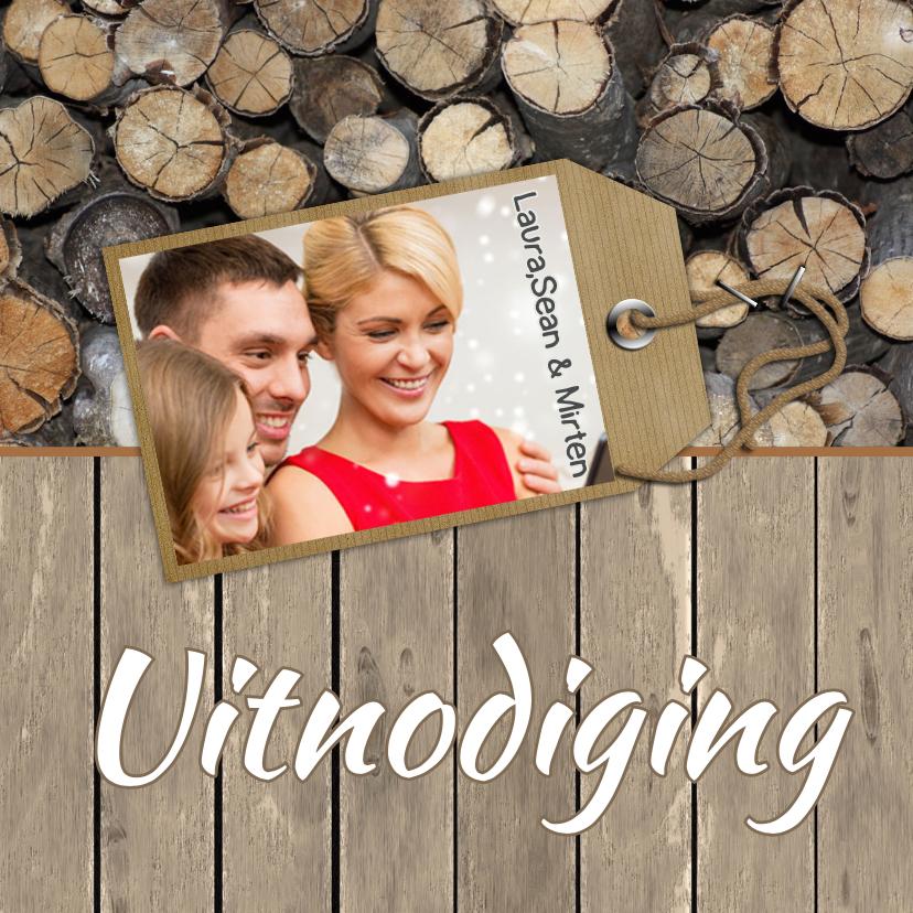 Uitnodigingen - Uitnodiging feest label en hout