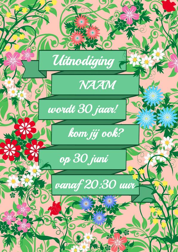 Uitnodigingen - Uitnodiging feest met bloemen HE
