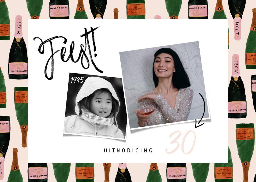 Uitnodigingen - Uitnodiging feest - met foto's en champagnekader