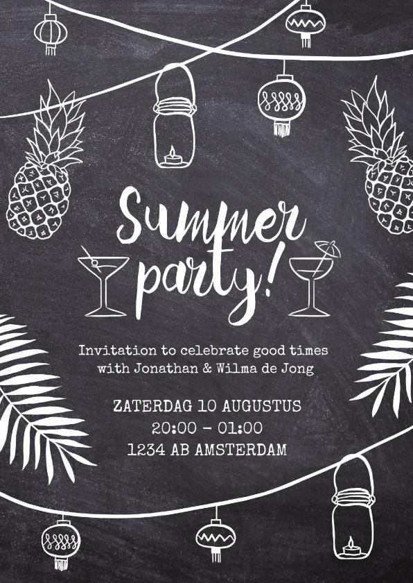 Uitnodigingen - Uitnodiging feest Summer Party krijtbord